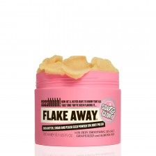 FLAKE AWAY™ Transforms your scaly legs from reptilian to radiant. A superhero strength skin smoothing body polish with shea butter, sweet almond oil, peach seed powder, sea salt and sugar.