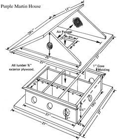 free printable birdhouse plans | Level, 8-Room Free Purple Martin Bird House Plans