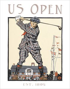 Golf poster - US Open Vintage print -  11x14 golf print on Etsy, $17.50