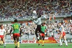 Poland 0 Cameroon 0 in 1982 in La Coruna. Cameroon keeper Thomas N'Kono can hold this cross but gets away with it in Group 1 at the World Cup Finals.