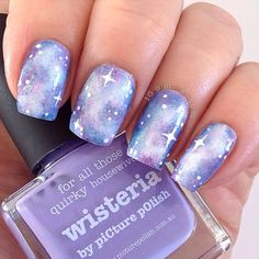 piCture pOlish 'Pastel Galaxy' features Wisteria, Cosmos, Whimsy, Hussy, Dream, Bette, Atomic & Bright White' = nails by Margaret!  Shop on-line: www.picturepolish.com.au