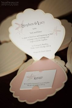 Sea Shell-shaped Invitations... adorable for an under the sea theme party... or a beach wedding!