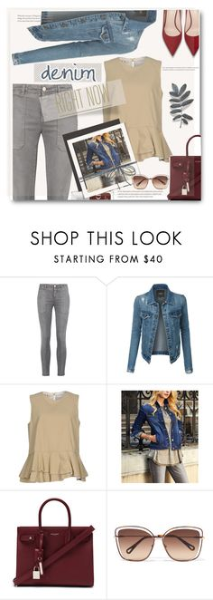 """""""Denim Jackets - contest entry"""" by tanyaf1 ❤ liked on Polyvore featuring Current/Elliott, LE3NO, Marni, Suzanne Betro, Yves Saint Laurent, Chloé and McKenzie"""