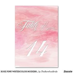 ROSE PINK WATERCOLOR MODERN TABLE CARD Watercolor Poppies, Watercolor Wedding, Abstract Watercolor, Card Table Wedding, Wedding Cards, Chic Wedding, Wedding Signs, Table Names, Table Signs