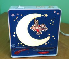1970s GE General Electric Nitey Lite Night Light and AM FM Radio Combo with Mouse and Light up Moon by retrowarehouse on Etsy