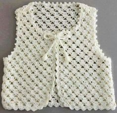 Stricken Anleitung :Crochet vest for your children Crochet Girls, Crochet Baby Clothes, Crochet Lace, Crochet Summer, Crochet Flower, Crochet Designs, Crochet Patterns, Crochet Jacket Pattern, Knit Baby Sweaters