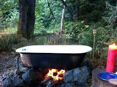 Cast iron tub, heated by fire , used for glamping, Olympic Peninnisula - New Ideas Outdoor Bathtub, Outdoor Bathrooms, Outdoor Showers, Cast Iron Kitchen Sinks, Tubs For Sale, Cast Iron Tub, Bathtub Remodel, Parasol, Landscaping
