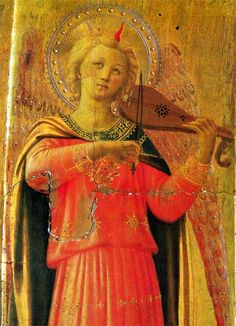 Fra Angelico: Music-making angel, Detail from the Linaioli Tabernacle, now at Museo di San Marco, Florence. This richly detailed tabernacle shows a number of music-making angels. It is tempera on panel.