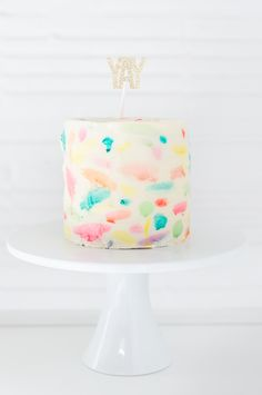 DIY Abstract watercolor painted cake