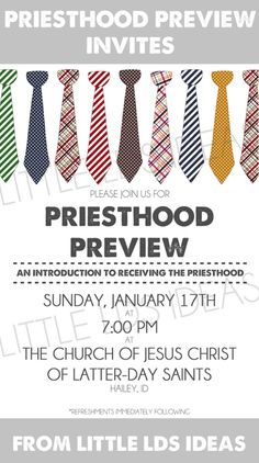 These Priesthood Preview invites are great and FREE! Check them out at Little LDS Ideas. LDS Primary Priesthood Preview