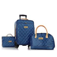Joy Mangano & IMAN 4pc Quilted Patent Luggage Set w Handbag & Better Beauty Case BLUE Joy & Iman http://www.amazon.com/dp/B00J4VKXKI/ref=cm_sw_r_pi_dp_YxVfub0DFVZR0