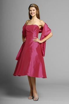 2015 Strapless Satin Shawl Fuchsia Sleeveless Ruched Knee Length Mother of the Bride Dresses MBD0129