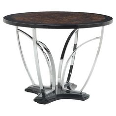 Counter-height dining table with a curving pedestal base and faux marble top.   Product: Dining tableConstruction M...
