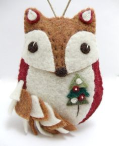 Felt Fox Ornament by BananaBugAndZod on Etsy
