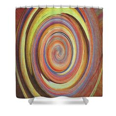 """Mushroom Abstract Shower Curtain by Tom Janca.  This shower curtain is made from 100% polyester fabric and includes 12 holes at the top of the curtain for simple hanging.  The total dimensions of the shower curtain are 71"""" wide x 74"""" tall."""