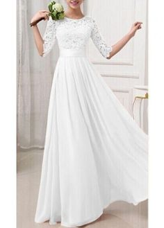 White Lace and Chiffon Splicing Maxi Dress $24.34 AT vintagedancer.com