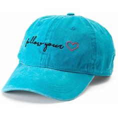 "Women's SO® ""Follow Your Heart"" Baseball Cap ($13) ❤ liked on Polyvore featuring accessories, hats, blue, blue baseball hat, embroidered baseball hats, embroidered ball caps, embroidered hats and baseball cap hats"