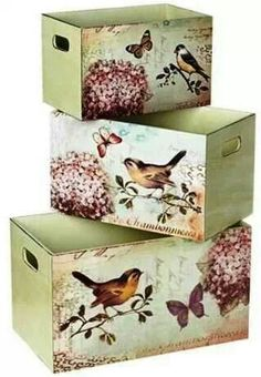 Set of 3 Bird Design Decorative Storage Boxes - con decoupage Decoupage Box, Decoupage Vintage, Decoupage Tutorial, Wooden Crates, Wooden Boxes, Wood Crafts, Diy And Crafts, Decorative Storage Boxes, Storage Bins