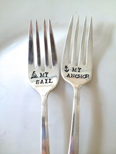 My Anchor and My Sail - Wedding Cake Fork Set  - Hand Stamped - Vintage Nautical Anchor Wedding -. $30.00, via Etsy.