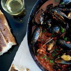 Steamed Mussels with Tomato-and-Garlic Broth // More Tasty Seafood: http://www.foodandwine.com/slideshows/seafood #foodandwine