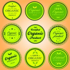 Pegatinas verdes de productos orgánicos.