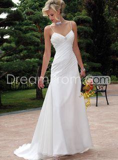 Simple Spaghetti Straps Sheath/Column Floor-length Court Wedding Dresses