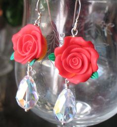 Desert Rose Earrings   Swarovski Beads by therodeorose on Etsy, $24.00