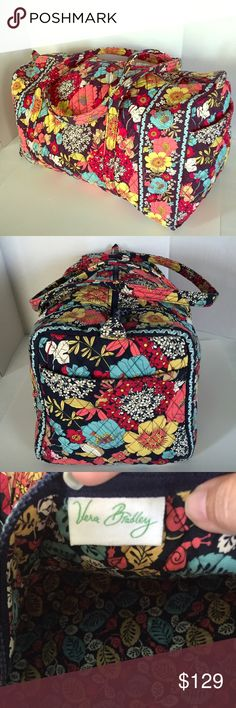 "Vera Bradley Large Duffel - Happy Snails - Retired Perfect for traveling. Easy access outside end pocket. 15"" strap drop. Folds flat for easy storing and is flexible for packing. 22"" W X 11.5"" H X 11.5"" D. Gently carried a few times only. Great condition. Retired pattern. Vera Bradley Bags Travel Bags"
