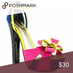 Pink Blue Yellow Heels Sandals 9 NEW New. Never worn. Comes with box. Downsizing. JustFab Shoes Heels