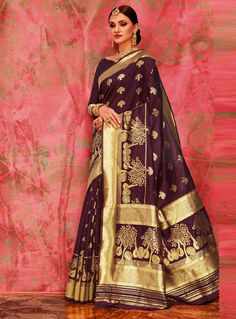 The Stylish And Elegant Saree In Wine Hand Work,Embroidery Colour Looks Stunning And Gorgeous With Trendy And Fashionable Hand Work,Embroidery . The Satin,Silk Party Wear Saree Looks Extremely Attrac. Art Silk Sarees, Banarasi Sarees, Maroon Saree, Party Kleidung, Sarees Online India, Indian Designer Sarees, Saree Look, Casual Saree, Latest Sarees