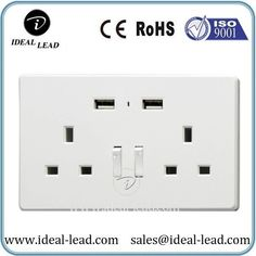Dongguan 13a Dual UK USB Wall Switch and Outlet Plug Socket