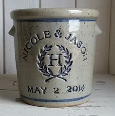 Personalized Stoneware Crock by zotterthepotter on Etsy https://www.etsy.com/listing/104141494/personalized-stoneware-crock