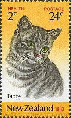 Cats in Illustration: New Zealand Postage Stamp