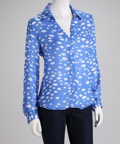 Take a look at this Larsen Grey Blue & White Dot Button-Up by Larsen Grey on #zulily today!