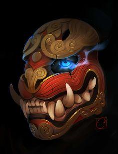 Draw Tigers Tiger mask sketch by GaudiBuendia - Japanese Tiger, Japanese Mask, Mascara Oni, Aztec Mask, Tiger Mask, Mask Drawing, Drawing Faces, Drawing Tips, Dragon Mask