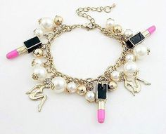 1 Hour buy one get one Free Red and Pink Betsey Johnson Golden girl Red lipstick pearl bracelet