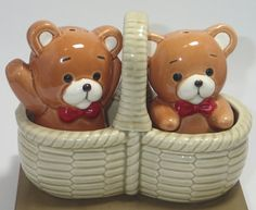 Cute Salt and Pepper Shakers Vintage Teddy Bear Picnic Salt and Pepper Shakers - Bears in Basket Salt and Pepper - Fit Together S&P Shakers