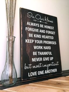 custom quote sign dark brown wood sign with love quote hand painted - Custom Signs For Home Decor