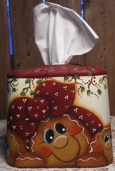Gingerbread Hand Painted Metal Tissue Box Cover