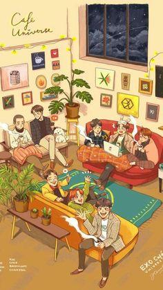 EXO The post EXO appeared first on Wallpapers. Kpop Exo, Kokobop Exo, Chibi, Baekhyun, Kaisoo, Fan Art, Fanart Kpop, Exo Cartoon, Exo Stickers