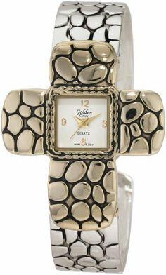 Golden Classic Women's 2143_TT Agape Cross Shaped Bezel Pebble Pattern Watch Golden Classic. $21.60. Textured silver bangle band. White dial with gold arabic numerals and hands. Highest standard quartz movement. Pebble textured cross bezel. Save 40%!