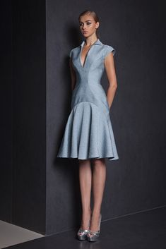 Watergreen knee-length cocktail dress in Jacquard with collar, V neckline and cap sleeves.