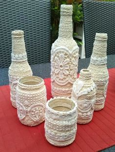 finds for your inspiration! Glue curtain pieces on old bottles!Glue curtain pieces on old bottles! Glass Bottle Crafts, Wine Bottle Art, Diy Bottle, Altered Bottles, Bottles And Jars, Glass Bottles, Painted Bottles, Empty Bottles, Glass Pitchers