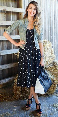 Blue polka dots jeans, vestido azul de puntos chamarra de mezclilla