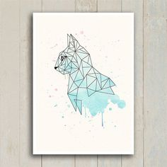 Discover recipes, home ideas, style inspiration and other ideas to try. Geometric Mandala, Geometric Drawing, Geometric Cat Tattoo, Geometric Animal, Geometric Poster, Cool Art Drawings, Art Drawings Sketches, Small Canvas Art, Origami Tattoo