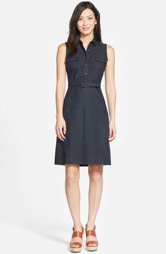 Halogen® Belted Sleeveless Shirtdress (Regular & Petite)