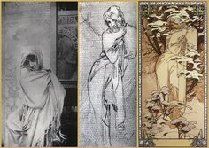 Alphonse Mucha - Winter 1896 Pictured alongside Mucha's own black & white photograph study for the painting c.1896