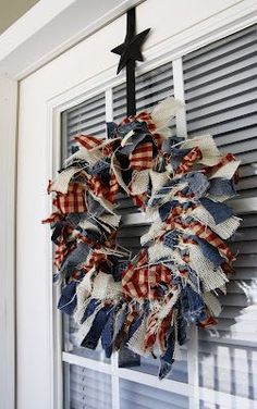 Fourth of July Crafts: This rag wreath creates a welcoming decoration for any front door. of July Rag Wreath - Beyond the Aisle Patriotic Crafts, Patriotic Wreath, July Crafts, Holiday Crafts, Americana Crafts, Patriotic Party, Fourth Of July Decor, 4th Of July Decorations, 4th Of July Party
