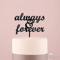 Black Acrylic Always & Forever Cake Topper