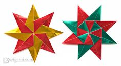 Ideal origami christmas ornaments - http://www.ikuzoorigami.com/ideal-origami-christmas-ornaments/